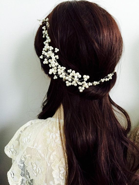 Pearl Bridal Halo Pearl Hair Vine hairvine by AliChristineBridal