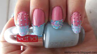 różowo-niebieskie paznokcie z kawiorem, kolorowy french #werterownia