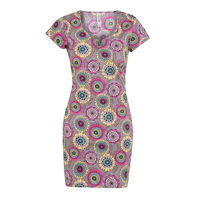 Phoebe Printed Stretch Tunic Dress A versatile printed tunic dress with a slight stretch. Features button detail on the capped sleeves, neckline and centre back, for a synched in shape. Can be worn as a dress or a tunic.