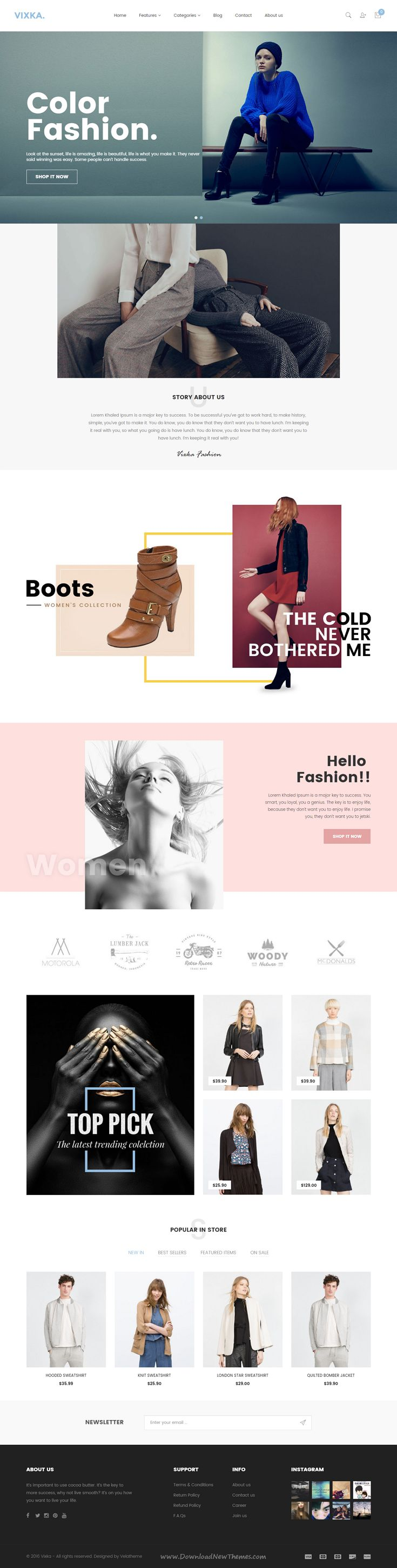 Vixka is a tidy and responsive Shopify theme suitable for any kind of boutique, clothes store, Fashion Shop, makeup products or similar websites that needs a feature rich and beautiful presence online with elegant and flexible design.