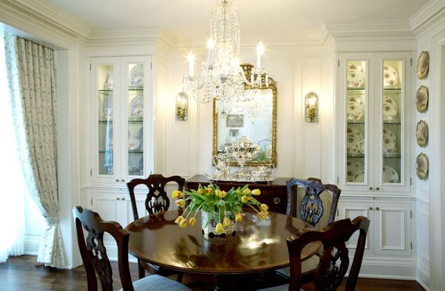 Formal White Dinning Room @ Round Dining Table & Great Built In China Cabinets