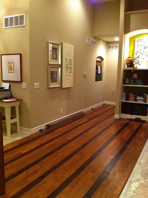 Two toned wood floor  Great way to utilize discount flooring 9 best Dining room floor ideas images on Pinterest   Dining room  . Flooring For Dining Room. Home Design Ideas