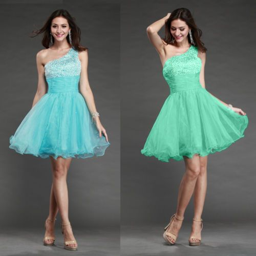 One Shoulder Turquoise Cocktail Party Evening Formal Short Mini Ball Prom Dress | eBay