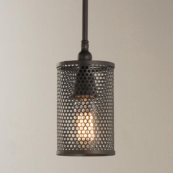 "Mini Honeycomb Grid Shade Industrial Pendant  60 watt medium base lamp max. (33""Hx4.5""W) Shade (7""Hx4.5""W) 5.5"" round canopy and 21.5"" non-adjustable rod."
