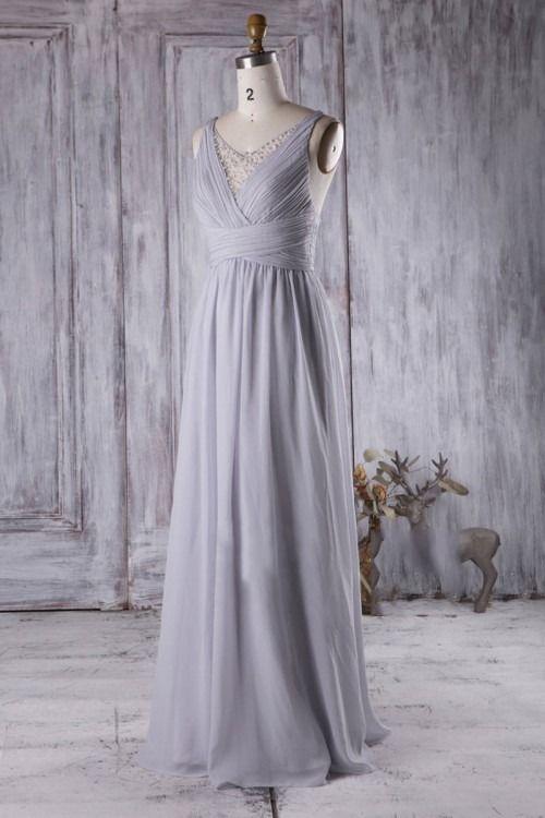 Perlen Perlen Illusion V-Ausschnitt Ärmellos Lang Solide Geraffte Brautjungfernkleider #Brautjungfer #Brautjungfernkleider #Brautjungfernkleider2018 #Brautjungfernschmuck ...
