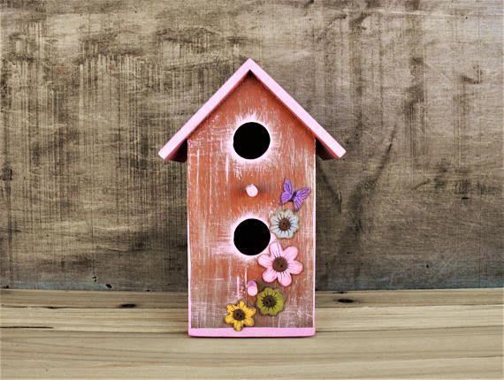Hand Painted Birdhouse  Outdoor Birdhouse  Wood Birdhouse