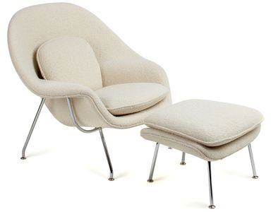 Womb Chair & Ottoman by Eero Saarinen in wool felt ivory with black powder coat legs