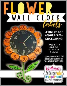 I loved this idea! And created it in my classroom this past year. The assistance it provided my students in learning the analog clock was amazing! I hope you can use it.Included in download:Printable petals, leaves and stem to create your own flower wall clock. ***PLEASE NOTE*** The dimensions I made the petals were to go around a 15in diameter clock face.