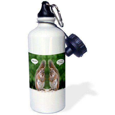 3dRose Red Squirrel Humor, Sports Water Bottle, 21oz, White