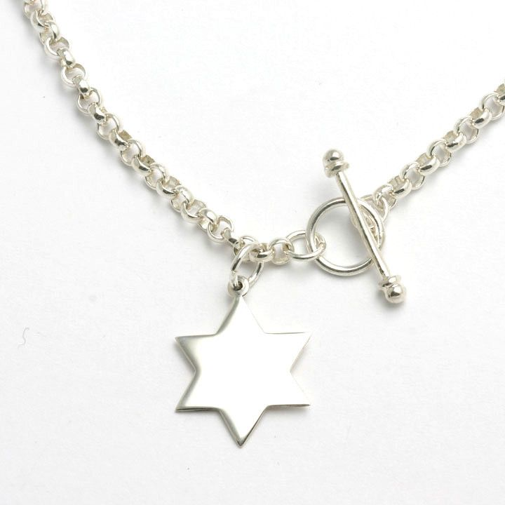 """925 Sterling Silver Solid Star of David All high polished, ideal for engraving 16"""" rolo chain Toggle lock clasp"""