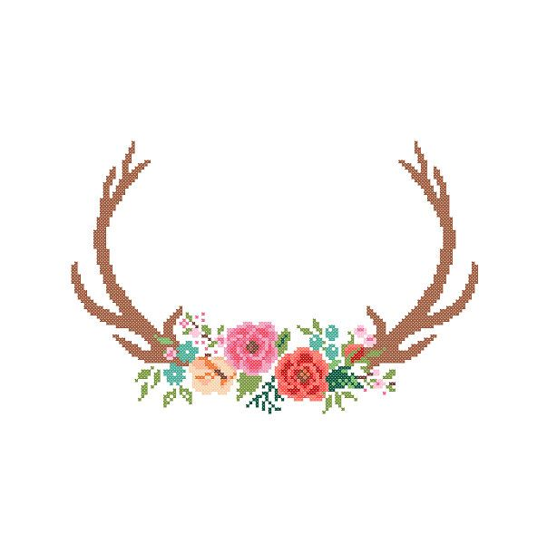 Modern Deer Cross Stitch Pattern cross stitch Floral Antler theme Deer Antlers…