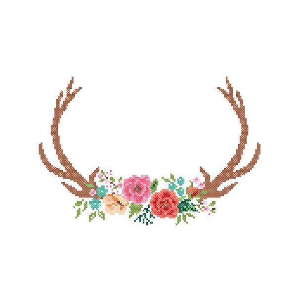 Modern Deer Cross Stitch Pattern cross stitch Floral Antler theme Deer Antlers…