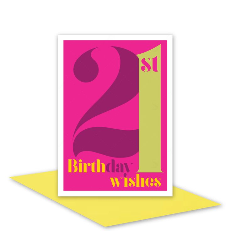21st Birthday Wishes card for her 21 Happy birthday card for girl woman sister daughter niece pink typography design inside message options - pinned by pin4etsy.com