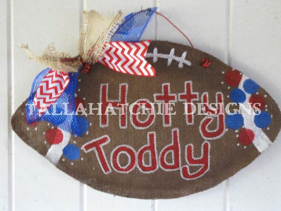 Ole Miss Burlap Football Hotty Toddy Burlap by TallahatchieDesigns, $27.00