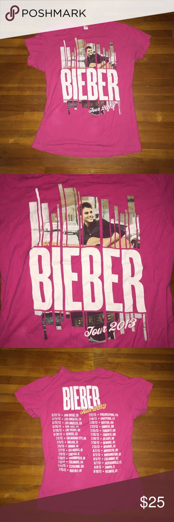 Justin Bieber Believe Tour Merch A pink believe tour merch shirt with all the tour dates on the back. Worn only a few times and very hard to find! (I threw on a brand because I know they sell some merch from his purpose tour). Urban Outfitters Tops Tees - Short Sleeve