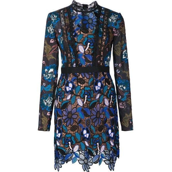 Self-Portrait 'Maxine' Floral Blue Lace Dress ($450) ❤ liked on Polyvore featuring dresses, blue, self portrait dress, floral print dress, flower print dress, blue lace dress and mini dress