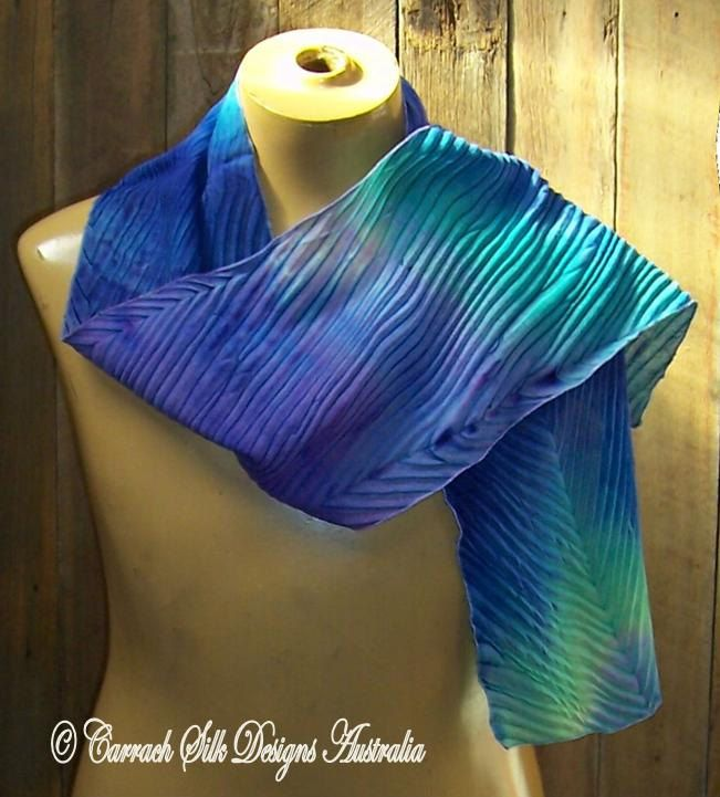 Arashi Shibori Blue Wool Scarf by CarrachDesigns on Etsy