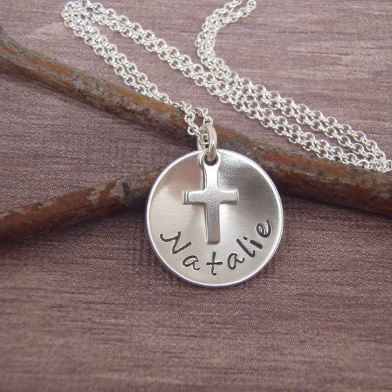 30 best for the goddaughter images on pinterest photo books girls first communion necklace dainty name and tiny cross necklace gift for goddaughter photo not actual size negle Choice Image