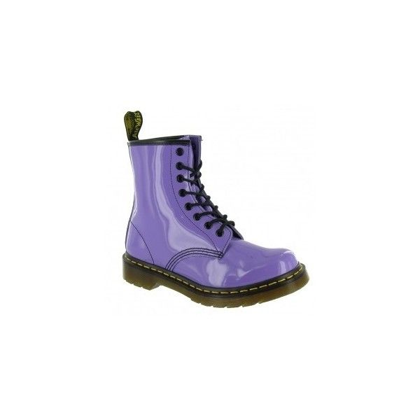 Dr Martens 1460 W Womens Patent Leather Boots - Lilac ❤ liked on Polyvore featuring shoes, boots, dr. martens, dr martens boots, dr martens footwear, dr martens shoes and patent leather boots