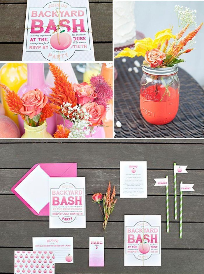 Peach Themed Party with Lots of Really Cute Ideas via Kara's Party Ideas | KarasPartyIdeas.com #Peaches #Party #Ideas #Supplies #peachparty #peachrecipes