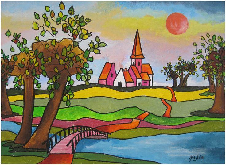Nadia de Bruin. Naieve schilderkunst. Kleurrijk dorp met knotwilgen. 30/40 cm.  Acryl on canvas.  Huissen 30 augustus 2013.