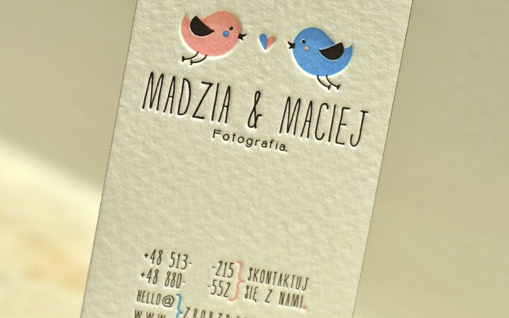 Creative pair of photographers business card. Proudly printed by Letter&Press using pink, blue (both light shades) and brown. Thick cotton.