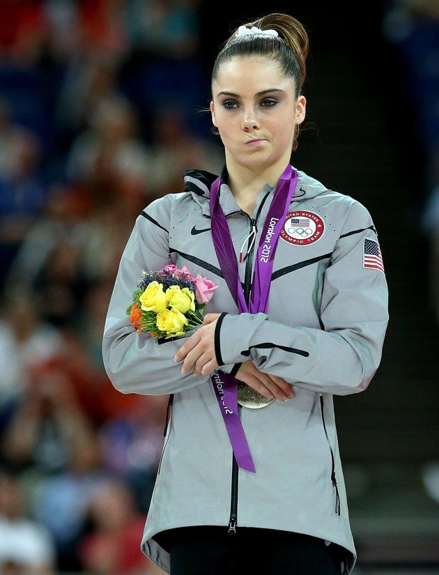 McKayla Maroney of the United States stands on the podium with her silver medal during the medal ceremony following the Artistic Gymnastics Women's Vault final on Day 9 of the London 2012 Olympic Games at North Greenwich Arena on August 5, 2012 in London, England