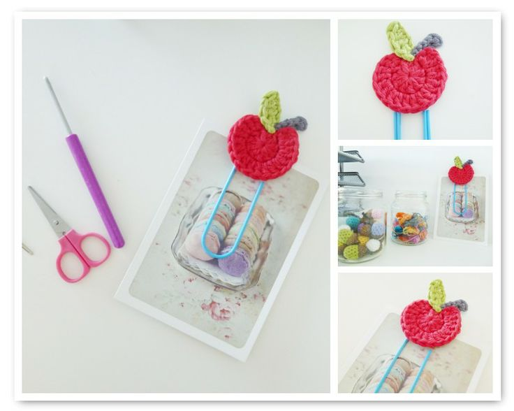 Crochet Apple Paperclip Tutorial--the first part of the post is in Dutch, but scroll down and there are English instructions.