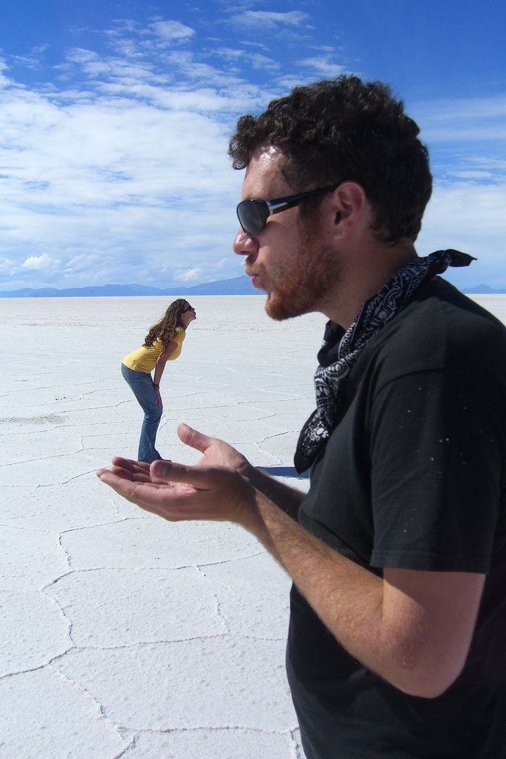 Having fun at the Salt Flats of Bolivia. Also known as Salar de Uyuni.