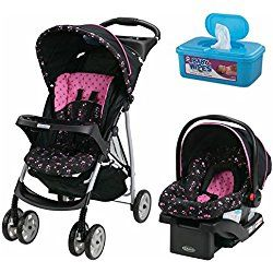 LiteRider Click Connect Purple Travel System Stroller with SnugRide Click Connect 22 Infant Car Seat, Priscilla with BONUS Hypoallergenic, Unscented Baby Wipes, 128 Count