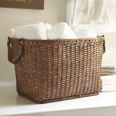basket: Rattan Baskets, Oval Rattan, White Towels, Clean Towels, Baskets Cases, Laundry Baskets, Bath Storage, Ballard Design, Leather Handles
