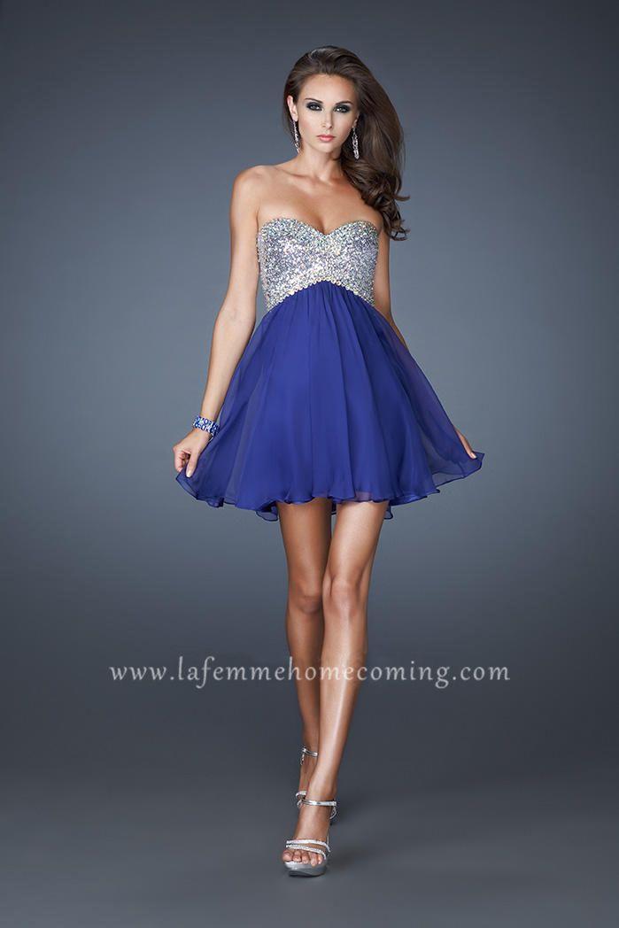 Fully Sequin Bodice Short Sequin  La Femme 17902 Cocktail Dresses 2013 Indigo