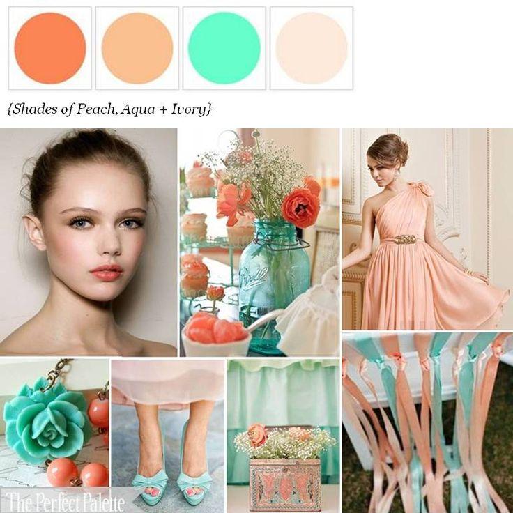 peach and aqua