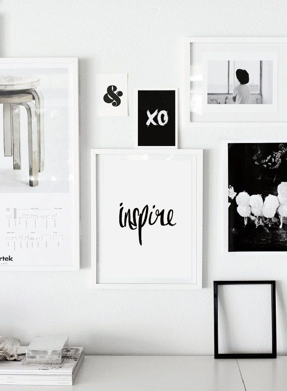 "Printable Typography Art Inspirational Quote ""Inspire"" Black and White Handwriting Style Motivation Home Decor Wall Instant Download Digital on Etsy, $9.00"