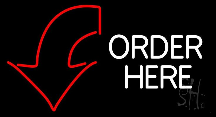 Order Here With Down Arrow Neon Sign 24 Tall x 31 Wide x 3 Deep, is 100% Handcrafted with Real Glass Tube Neon Sign. !!! Made in USA !!!  Colors on the sign are Red and White. Order Here With Down Arrow Neon Sign is high impact, eye catching, real glass tube neon sign. This characteristic glow can attract customers like nothing else, virtually burning your identity into the minds of potential and future customers.