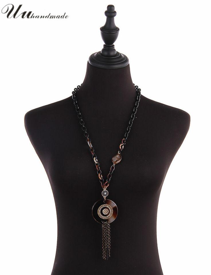 2016 Прямые Продажи Ожерелье Колье Мода Длинные Цепи Подвески Ожерелья Для Женщин Акриловые и Металла Кисточкой Ожерелье купить на AliExpress