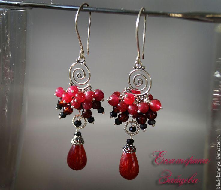 Купить Серебряные серьги Рубиновое сердце рубин, шпинель - рубиновые серьги, серьги из рубина