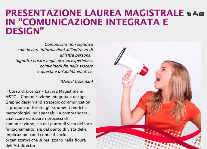LAUREA MAGISTRALE IN COMUNICAZIONE INTEGRATA E DESIGN. #university #school #learning