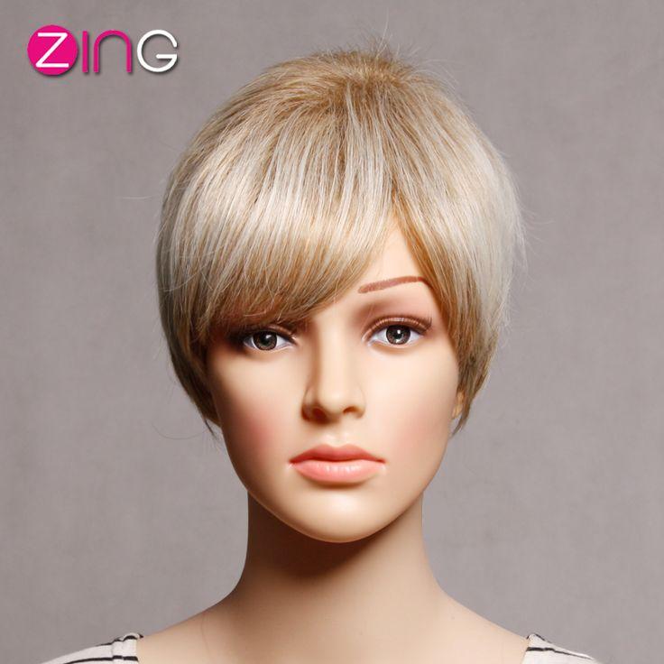 Synthetic Wigs Blonde+White Wig Cute Short Haircuts Fashion Hair  Pelucas Pelo Natural Korte Krullend Blonde Vrouwen Pruik