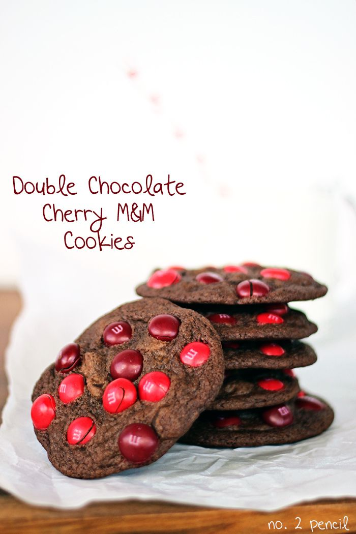 Double Chocolate Cherry M and M Cookies