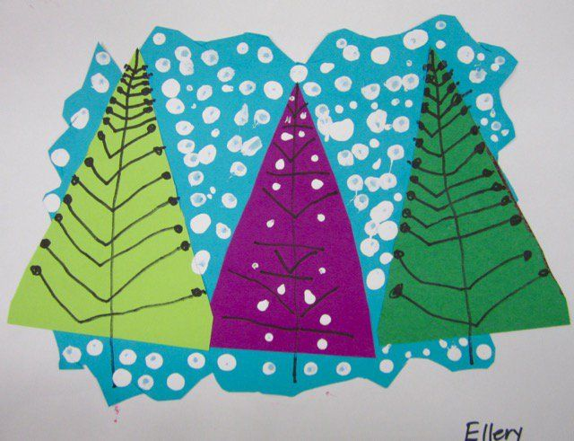 """Let it snow - """"Kindergarten artists learned about landscapes while creating these sweet little snowscapes.  They also learned a fancy new art word: collage – meaning """"to glue"""" in French!"""""""