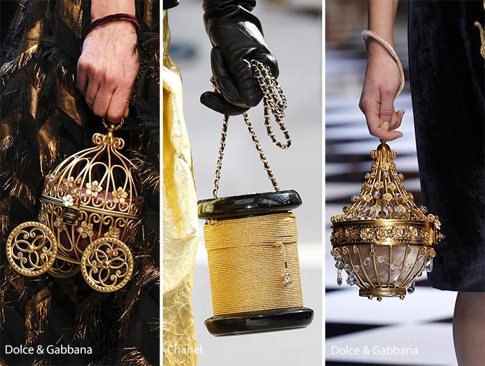 Eccentric handbags are in this fall like these bags from Dolce and Gabbana, Chanel and Prada.
