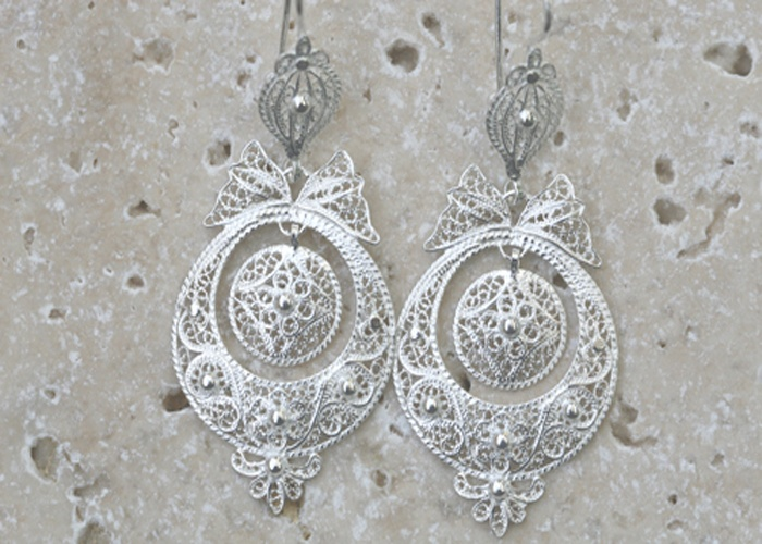 Portuguese GRACA PRINCESS Earrings  rhodium plated sterling silver