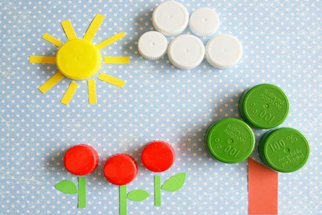 Earth Day Portraits - use plastic bottle lids to create a landscape scene