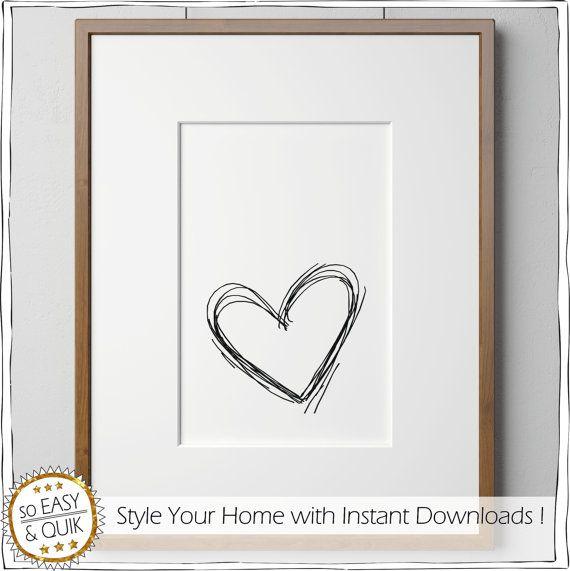 Herz Bild Wandbild schwarz weiß Valentinstags von animoARTshop