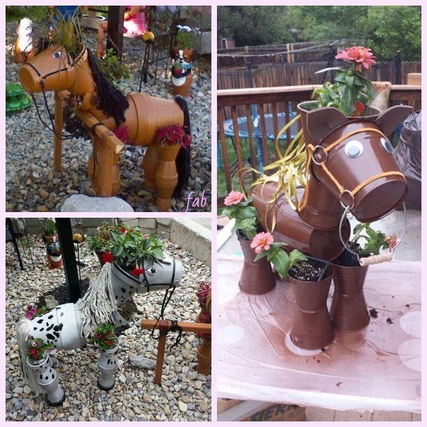 DIY Flower Clay Pot Horse Gardening Planters Tutorial