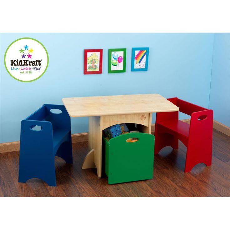 Perfect KidKraft Kidsu0027 Table And Primary Bench Storage Set