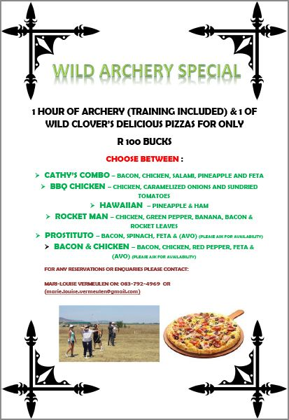 We are offering an amazing archery special! Pay only R100 for a 1 hour lesson of archery and choose between any of our delicious pizzas.