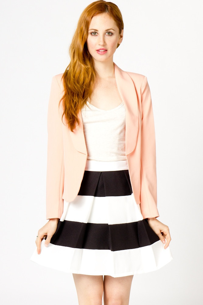 Blazer & stripe skirt: Super Cute Outfits, Black And White Stripes Skirts, Open Blazers, Basic Open, Blushes Pink Blazers, Clothing, Black Shoes, Black White, Blush Pink