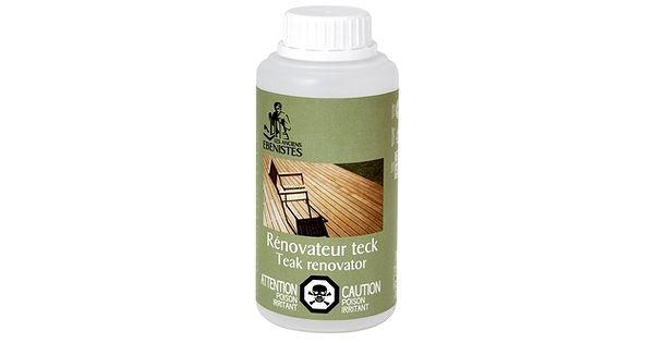 Rénovateur pour teck et bois exotiqueRedonne rapidement sa couleur d'origine au teck grisaillé par le temps et les intempéries. Élimine les vieilles couches d'huile de teck.s'utilise facilement sur les meubles de jardin. S'utilise tant à l'intérieur qu'à l'extérieur sur le teck et tous les bois exotiques.directement du distributeur des excellents produits des anciens ébénistesApplicationNe pas utiliser au soleil. Munissez-vous de gants. Agitez le bidon avant em...